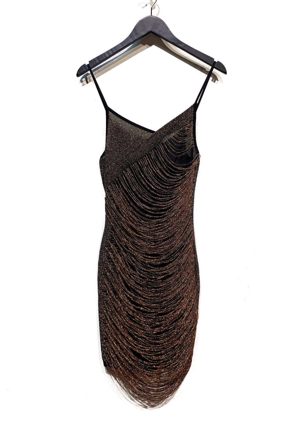 Balmain Copper Metallic Thread Fringed Mini Dress