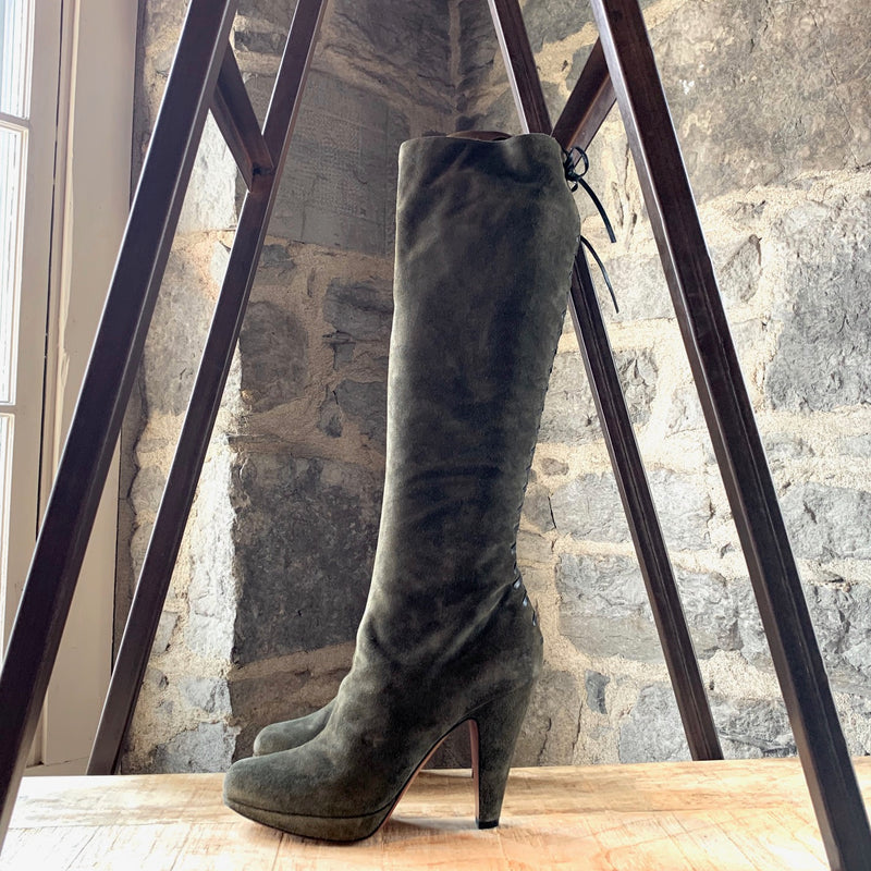 Alaïa Olive Green Suede Lace-up High Heeled Boots