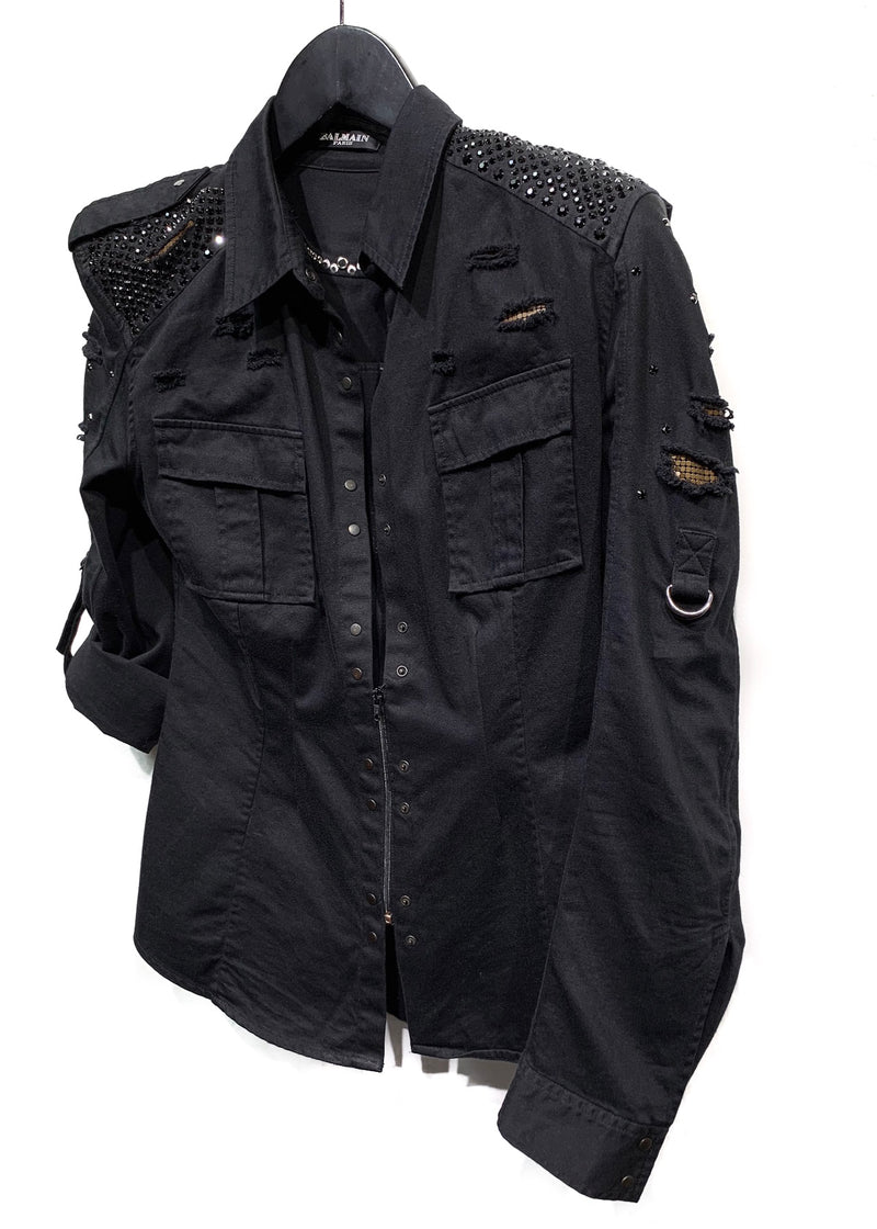 Balmain Black Embellished Destroyed Denim Shirt