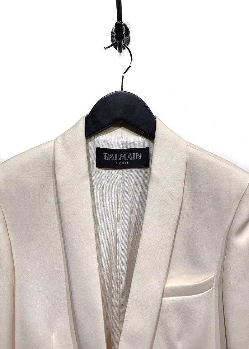 Balmain Ivory Wool Single-Button Blazer
