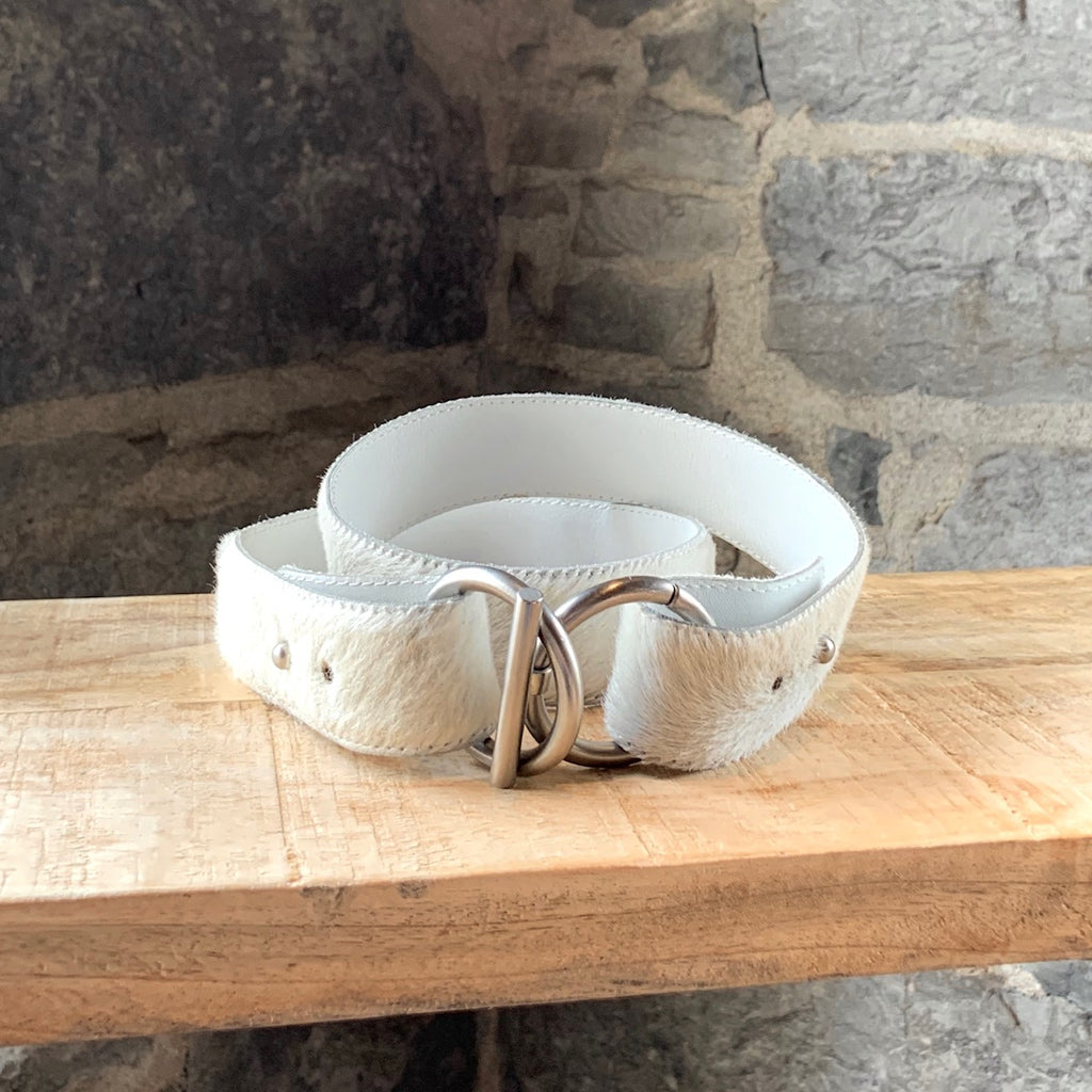Bottega Veneta Ivory Calf Hair Ring Belt