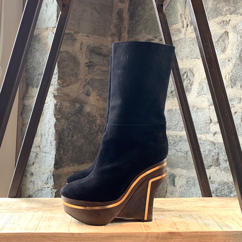Marni Black Suede Wooden Wedge Sole Boots