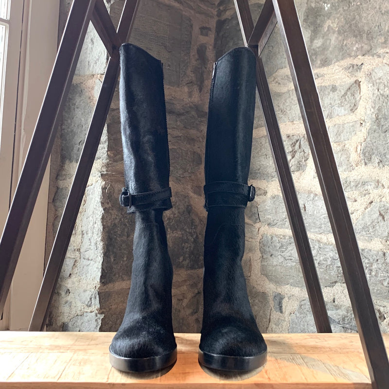 Ann Demeulemeester Black Pony Hair Convertible Heeled Boots