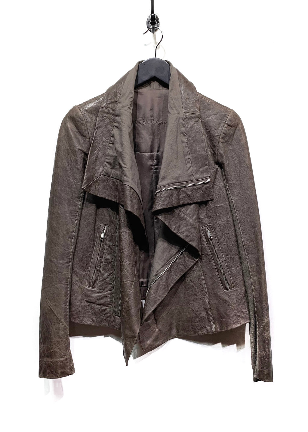 Veste en cuir marron Rick Owens avec insertion de laine