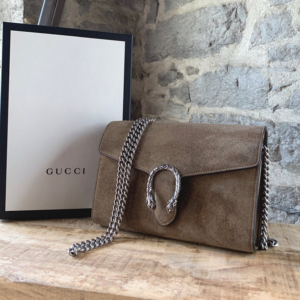 Gucci Beige Suede Dionysus Wallet On Chain