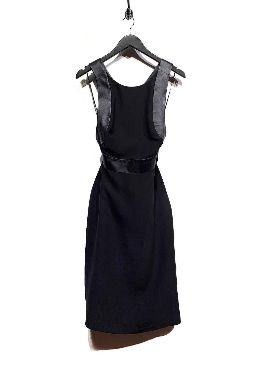 Gucci Black Leather-Trimmed Criss Cross Dress