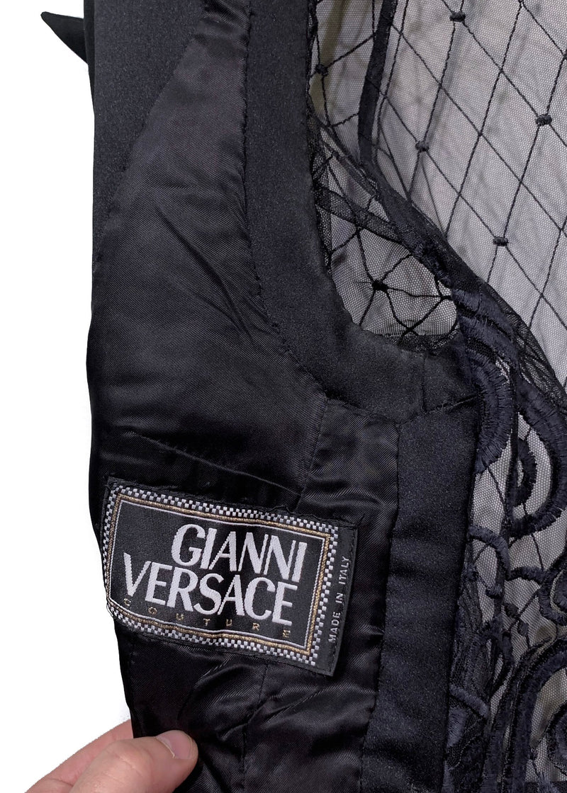 Gianni Versace Vintage Black Lace Insert Double Breasted Vest