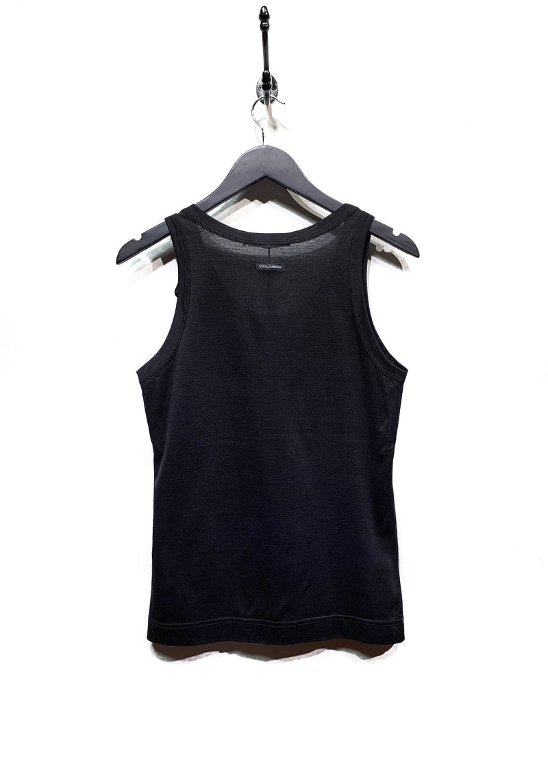 Dolce & Gabbana Black Tank Top with Bow Detail