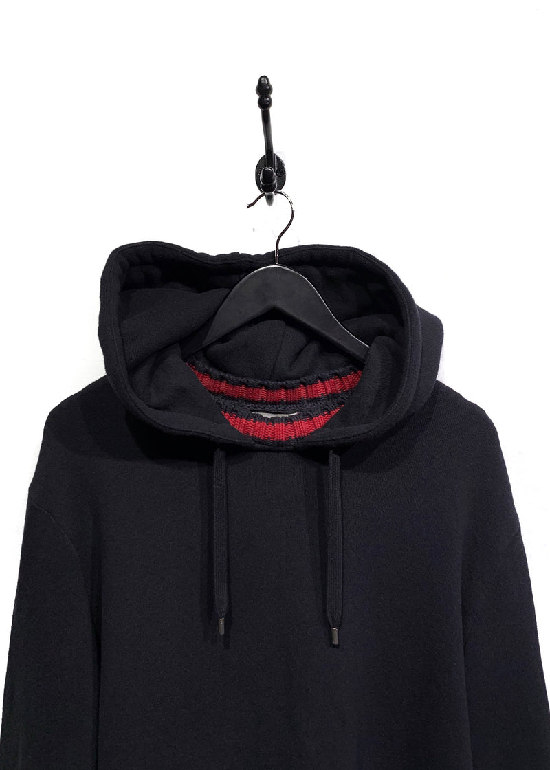 Gucci Black Sylvie Cable Web Trim Hoodie