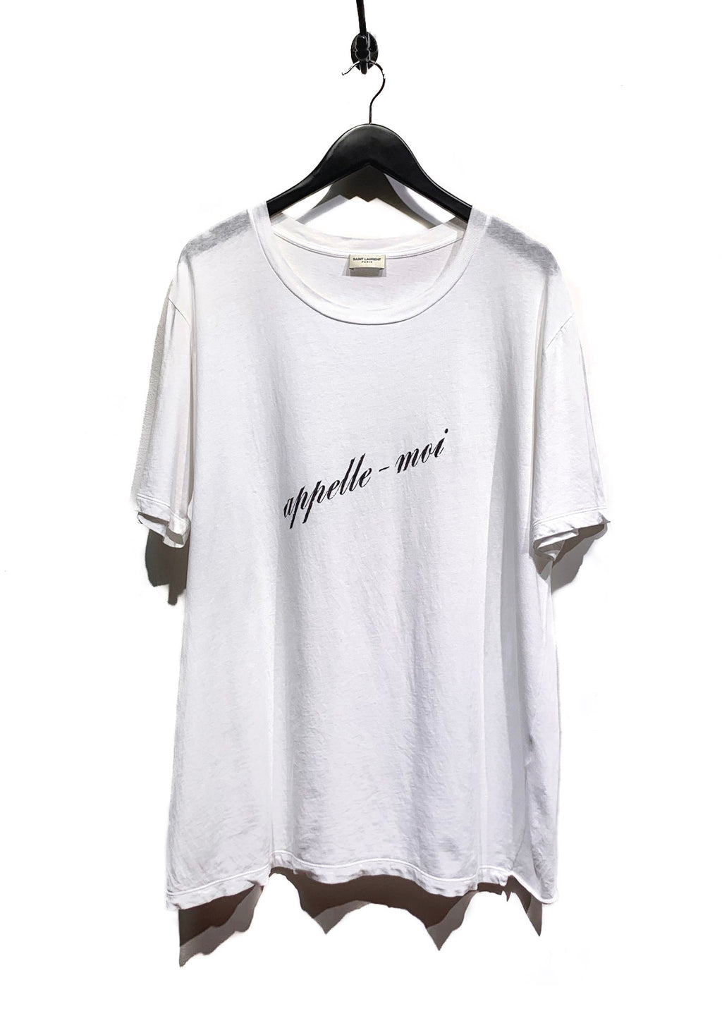 T-shirt blanc graphique '' Appelle-moi '' de Saint Laurent