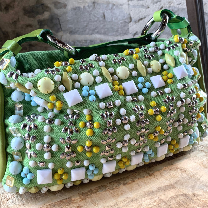 Chloé Green Beaded Embellished Canvas Ring HandBag