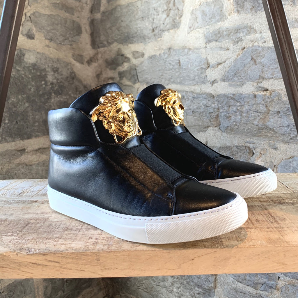 Versace Black Leather Palazzo Medusa High-top Sneakers