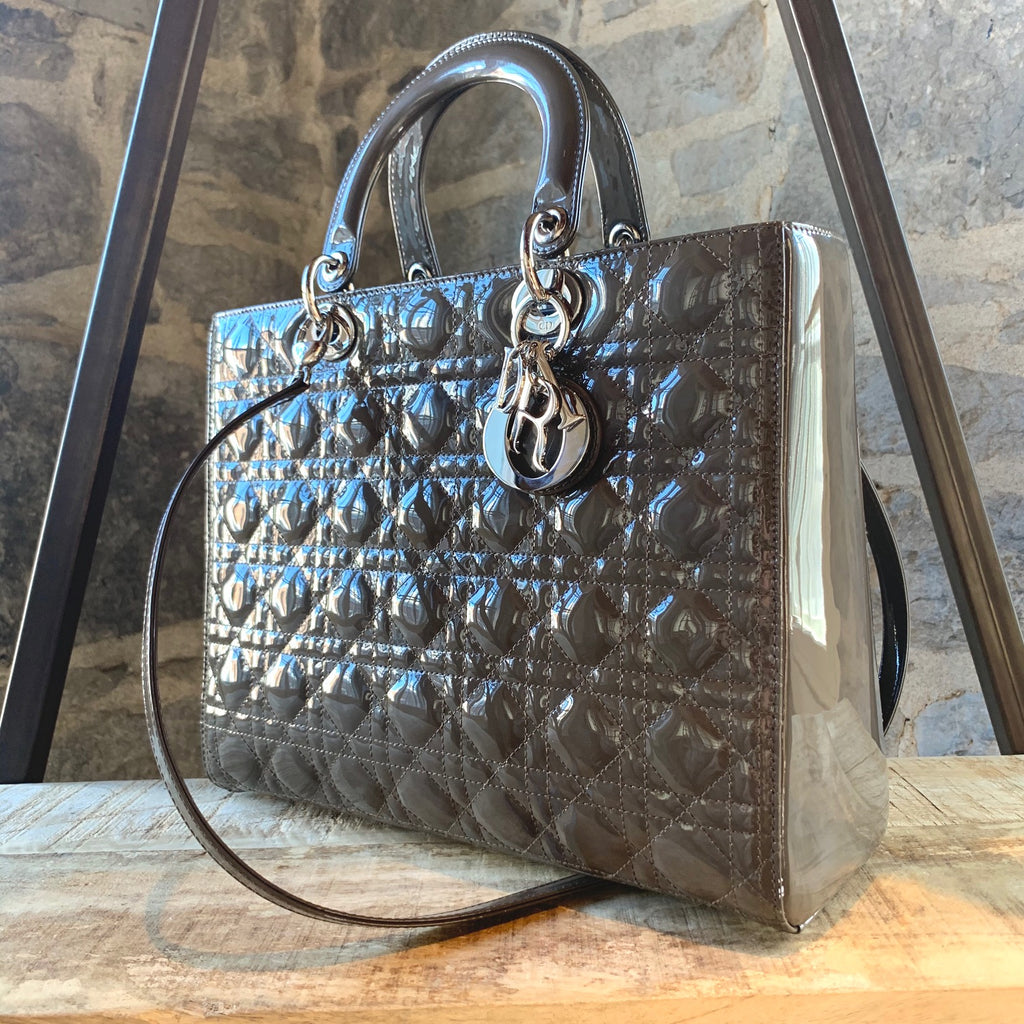 Christian Dior Large Mist ''Brume'' Patent Leather Lady Dior Handbag