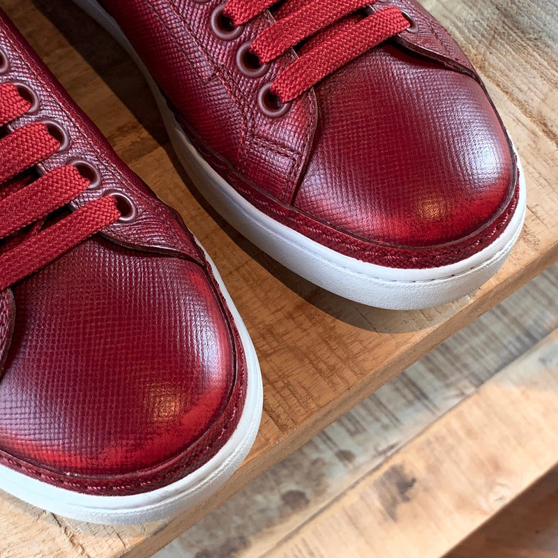 Prada Saffiano Red Leather Low-Top Sneakers