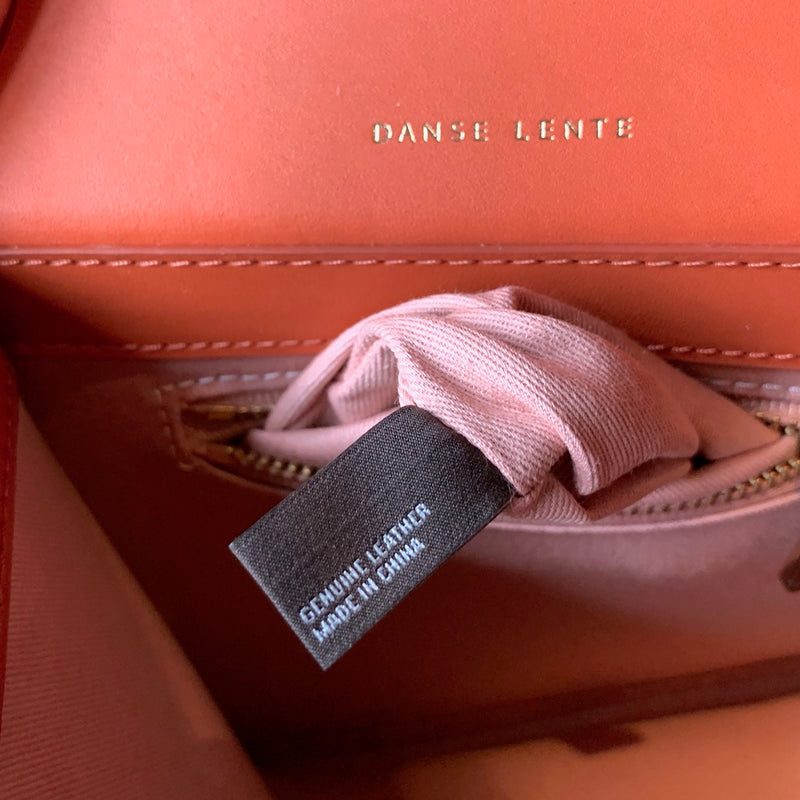 Danse Lente Structured Orange Leather Zoé Shoulder Bag