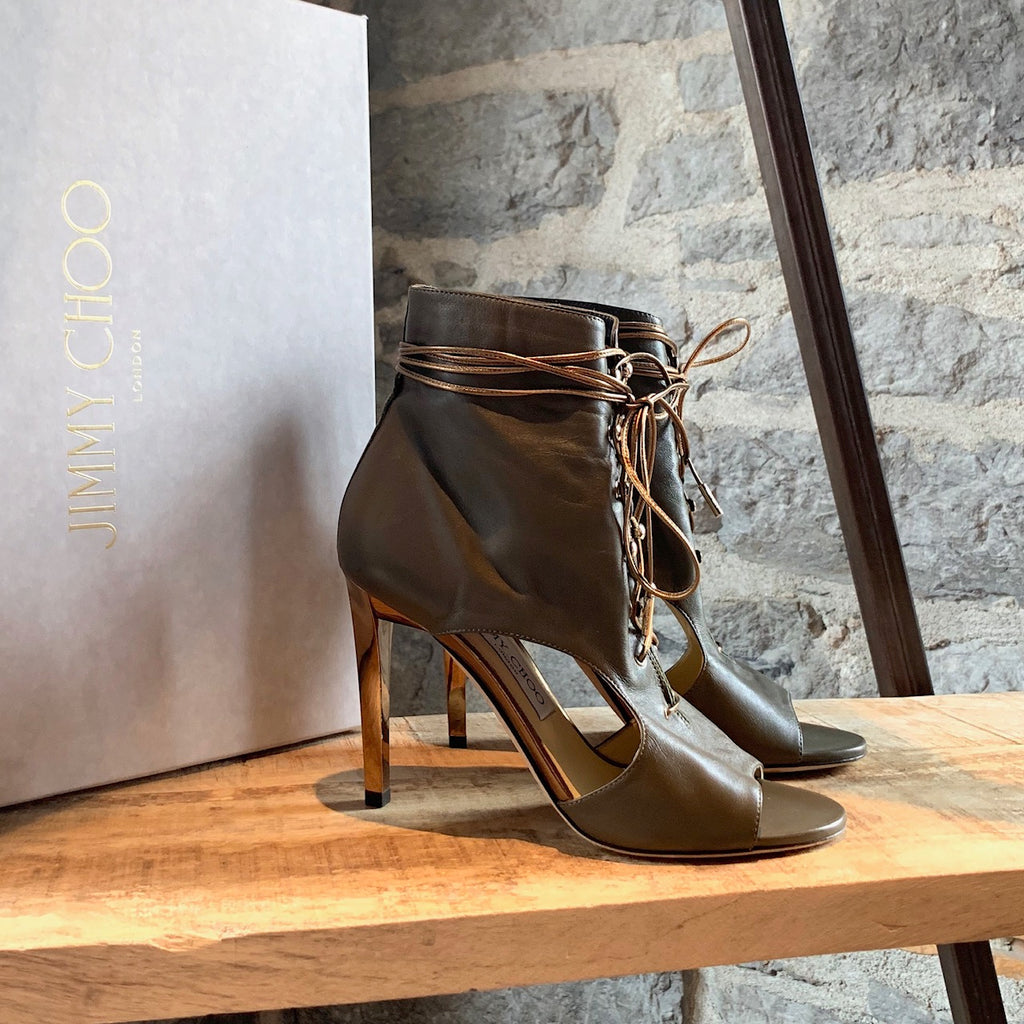 Jimmy Choo Moss Leather Minka 100 Open Toe Heeled Booties