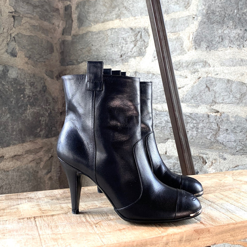 Chanel Black Leather Booties with Stitched CC Cap Toe
