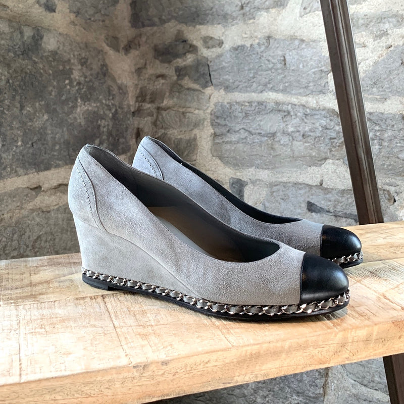 Chanel Grey Suede Chain-Link Accent Wedge Pump