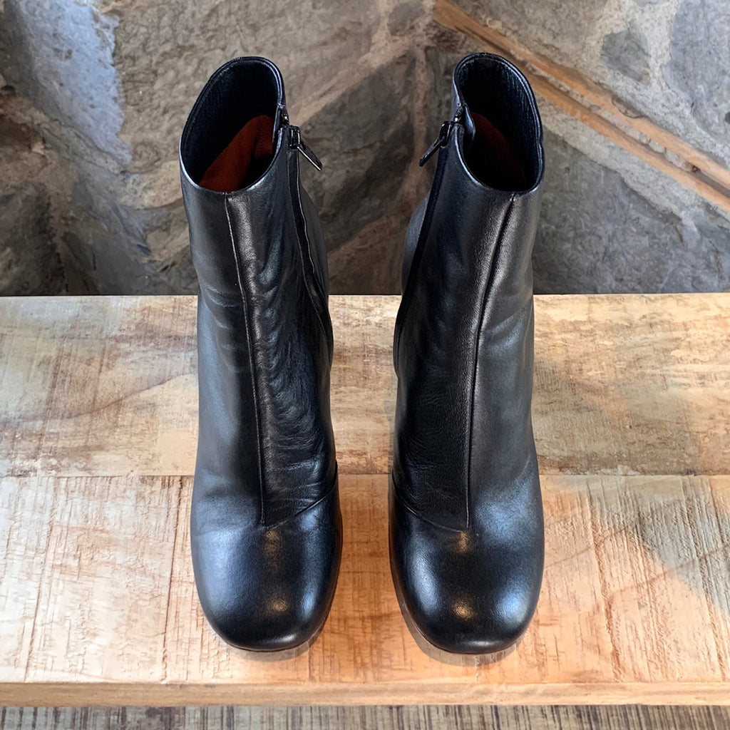 Céline Black Leather Silver Heel Booties