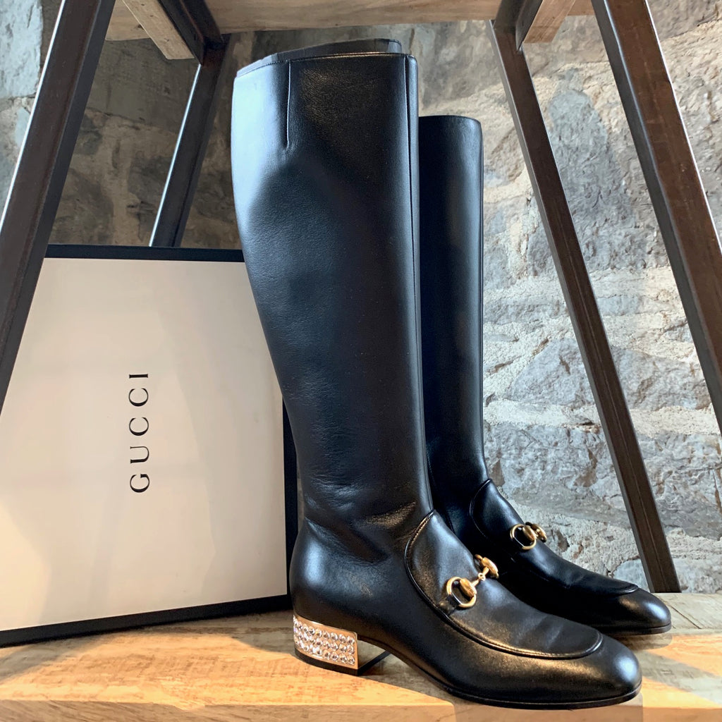 Gucci Black Leather Charlotte Horsebit Crystal Heeled High Boots