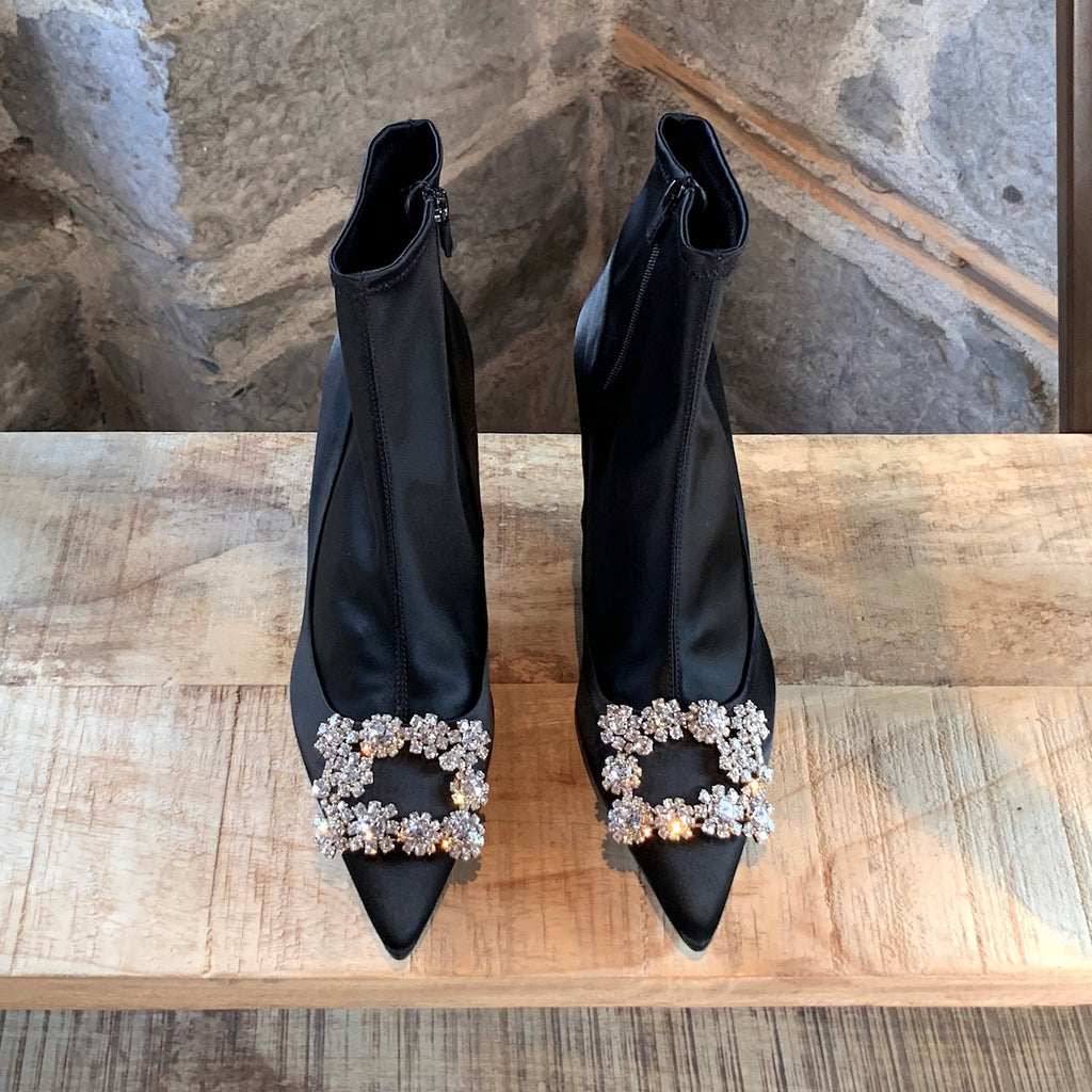 Roger Vivier Black Satin Flower Crystal Embellished Sock Booties