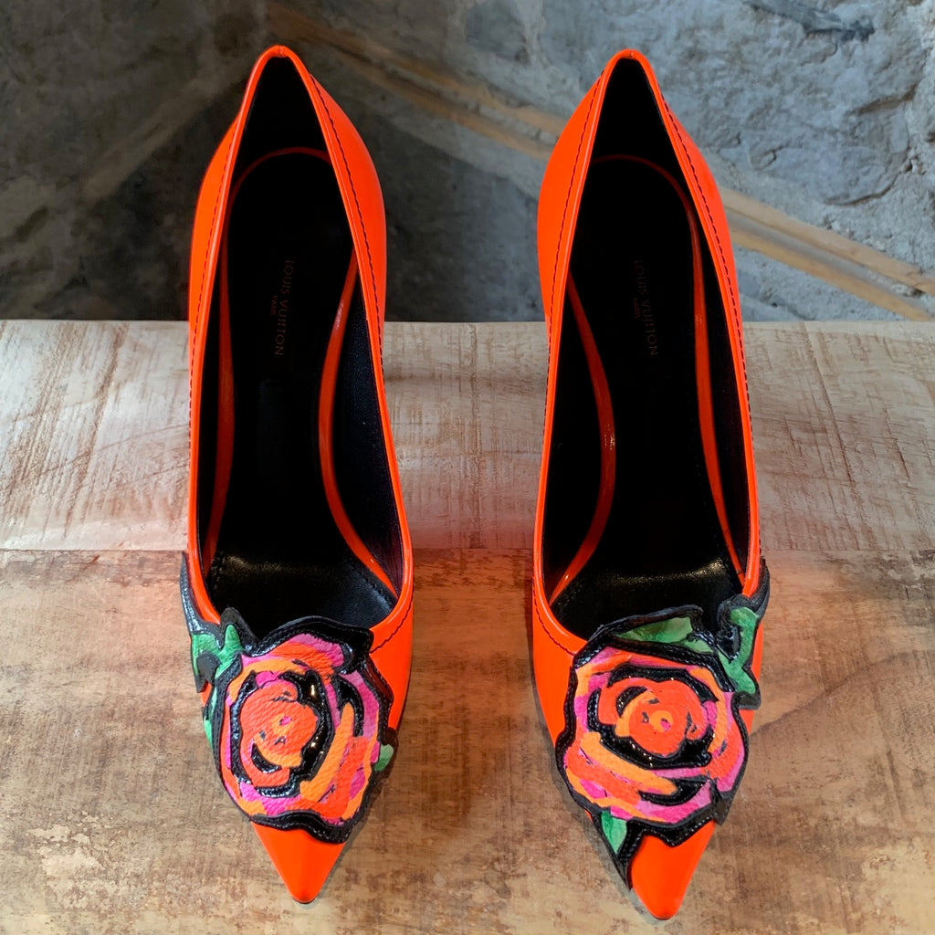 Louis Vuitton Orange Flower Appliqué Stephen Sprouse Pumps