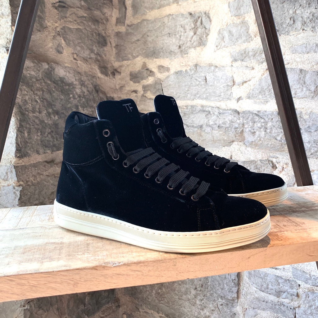Tom Ford Black Velvet Russel High-top Sneakers