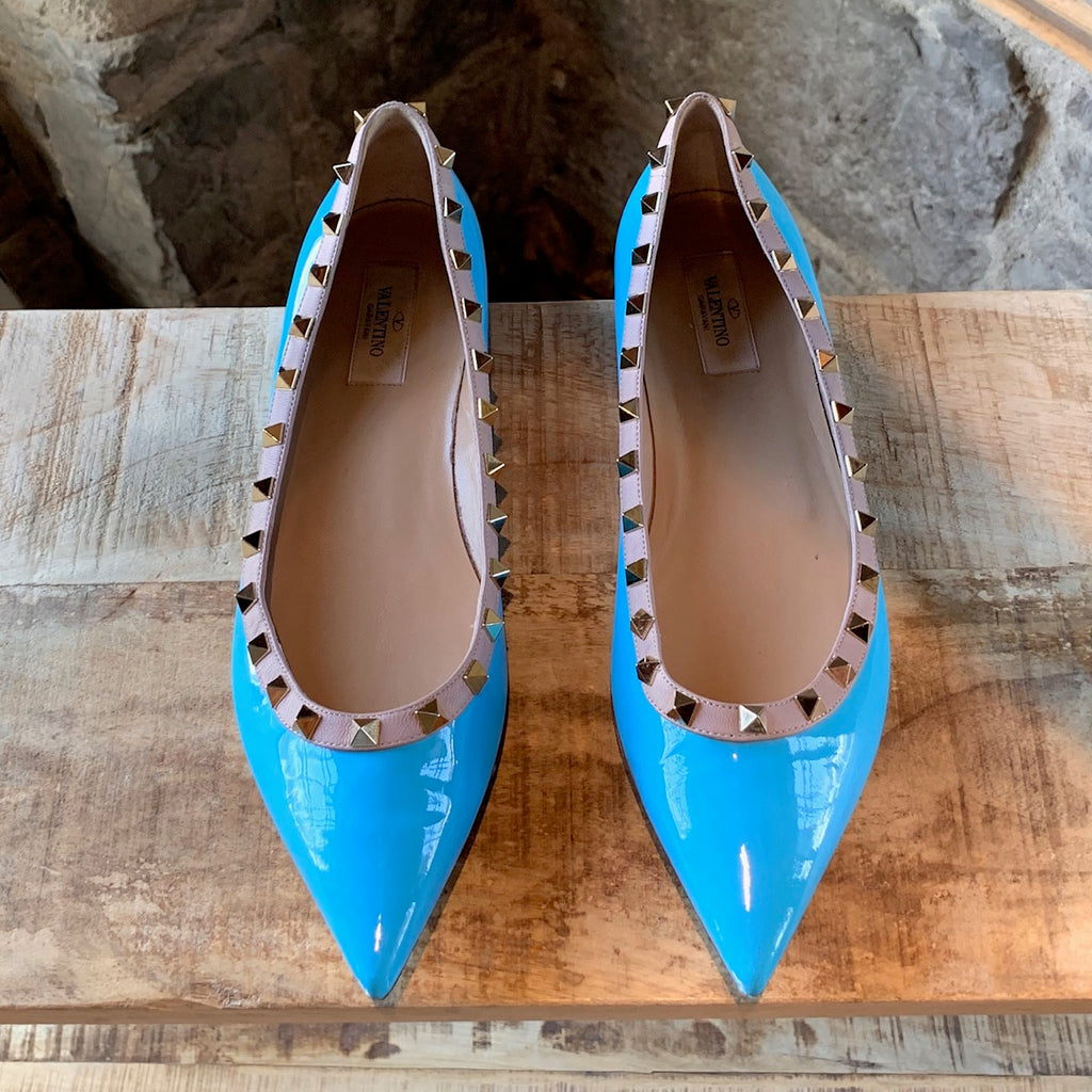 Valentino Turquoise Rockstud Patent Leather Flats