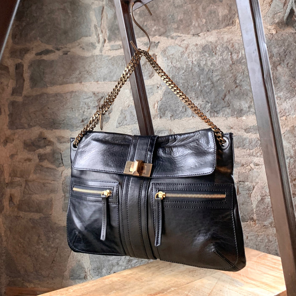 Lanvin Black Leather Zip Pockets Chain Shoulder Bag