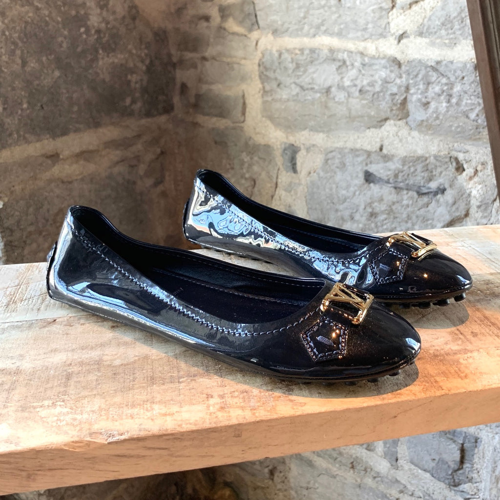 Louis Vuitton Navy Leather Patent Oxford Ballerinas