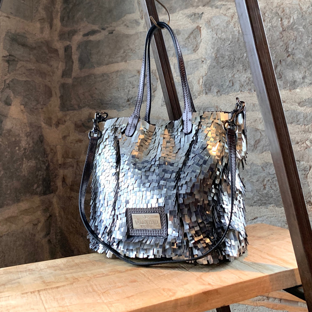 Valentino Silver Glitter Crystal Embellished Mirrored Tote