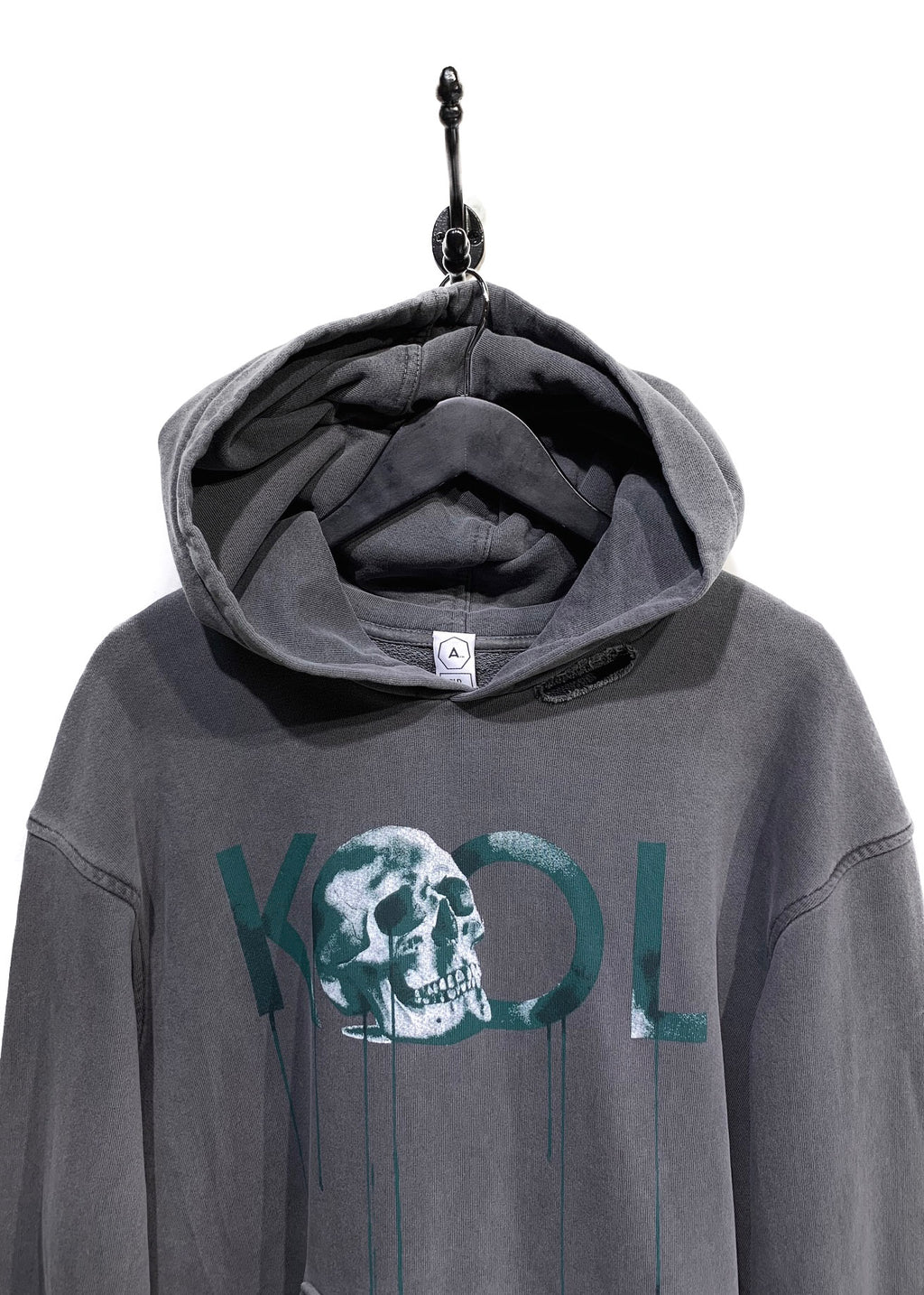 The Alchemist Hold Fast Grey Skull KOOL Distressed Hoodie