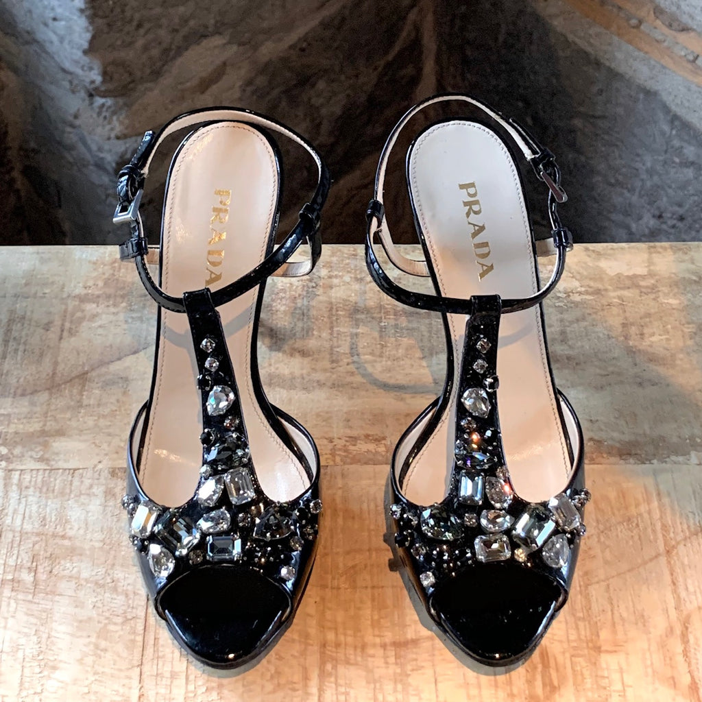 Prada Black Patent Leather Crystals Embellished T-Strap Sandals