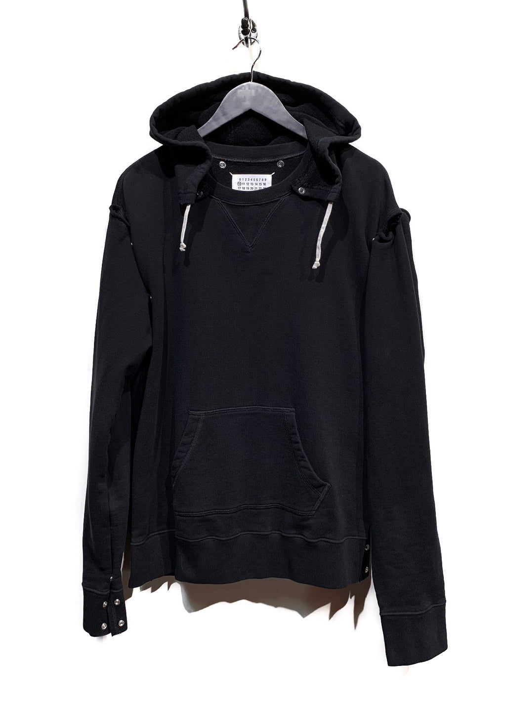 Maison Margiela Black Amovible Sleeves And Hood Snapped Hoodie