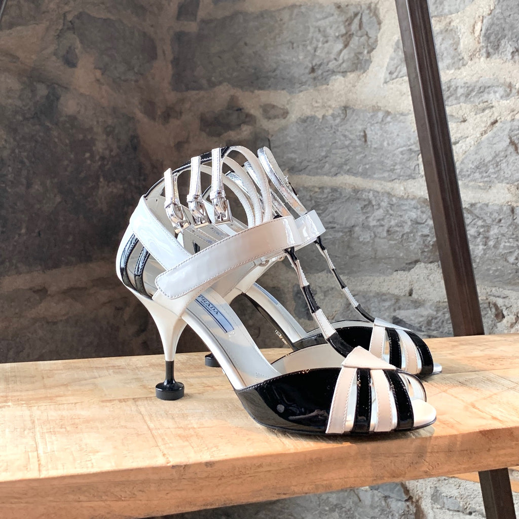 Prada Black White Multi Ankle Straps Sandals