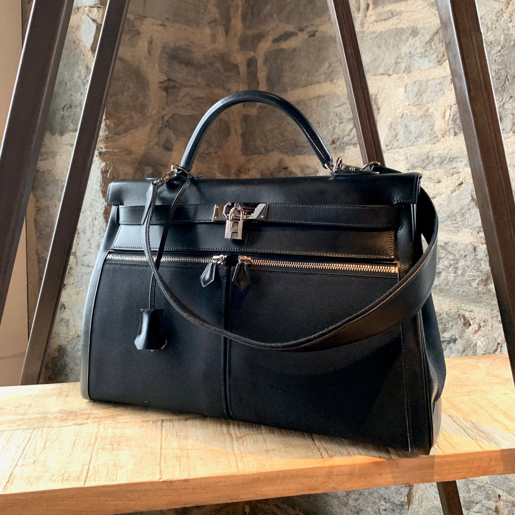 Hermès Black Leather Canvas Kelly Lakis 40 Bag