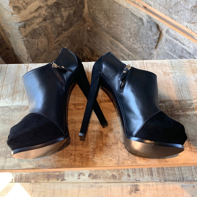 Louis Vuitton Black Suede Brigade Heeled Booties