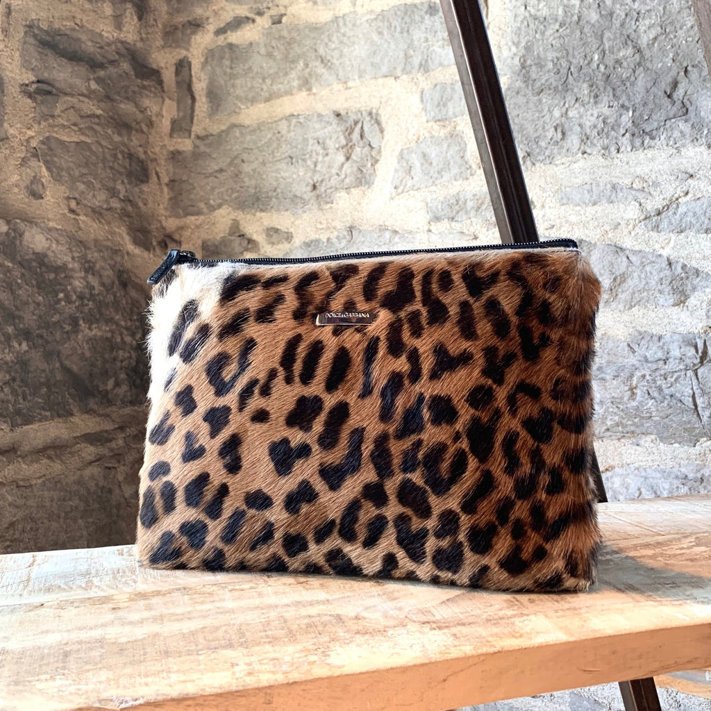 Dolce & Gabbana Leopard Pony Hair Medium Pouch Bag
