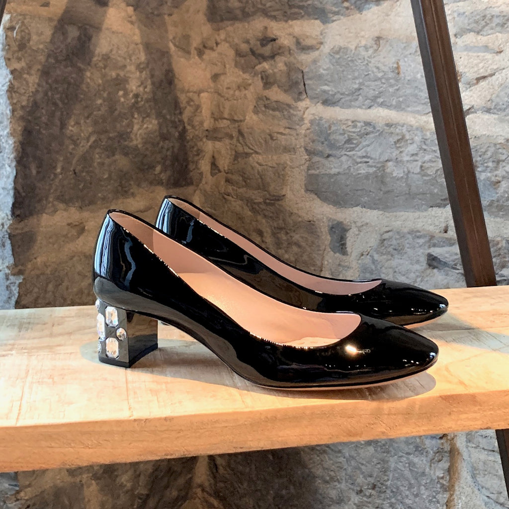 Miu Miu Black Patent Crystals Embellished Heels Pumps