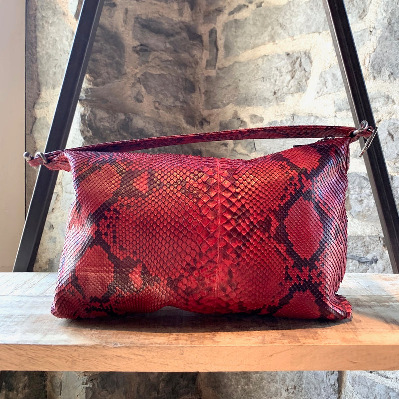 Dolce & Gabbana Red Snakeskin Shoulder Bag