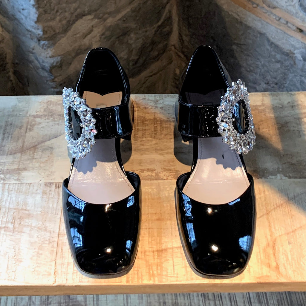 Miu Miu Black Patent Crystals Embellished Flower Buckle Pumps