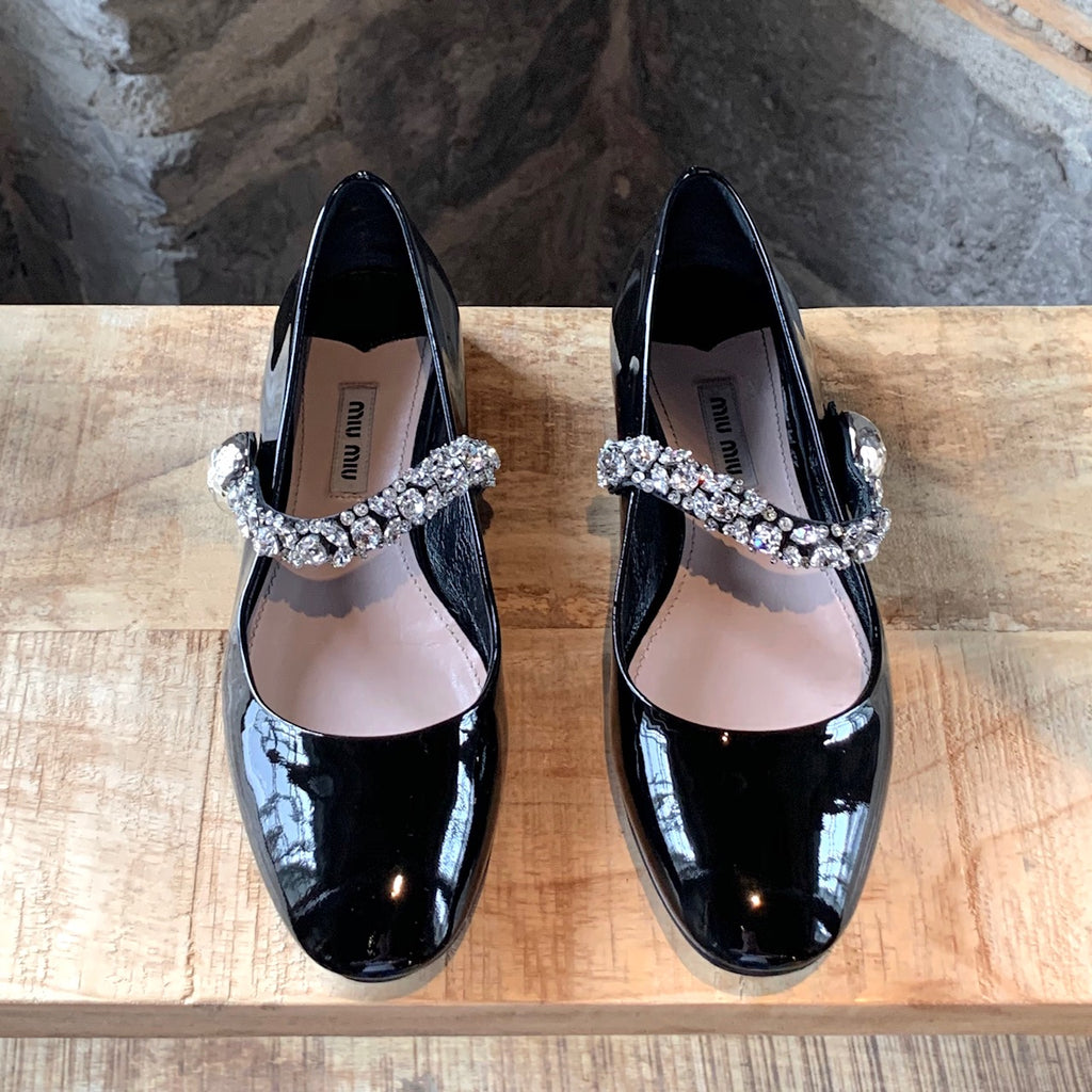 Miu Miu Black Patent Mary Jane Crystals Embellished Flats