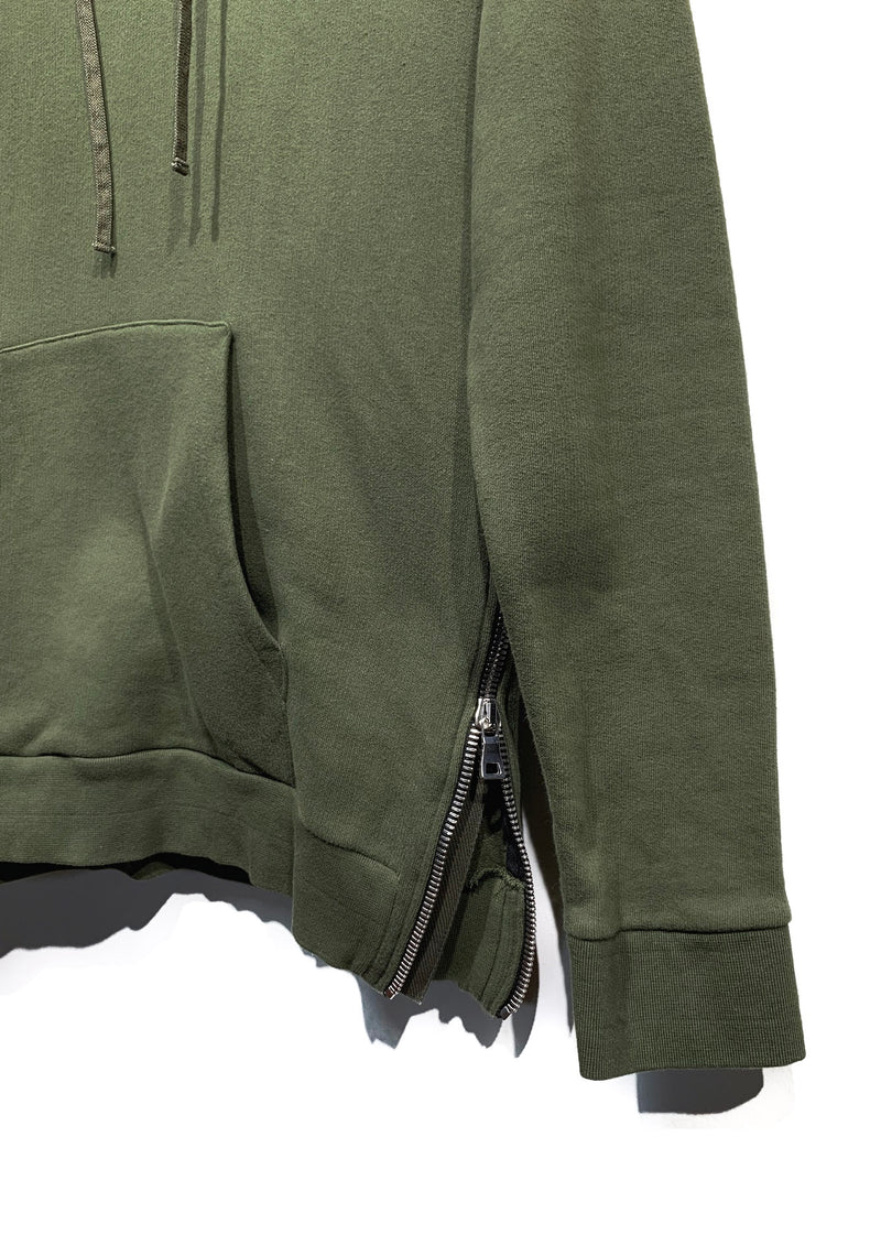 Balmain Khaki Hoodie with Army Print Shoulder Patches