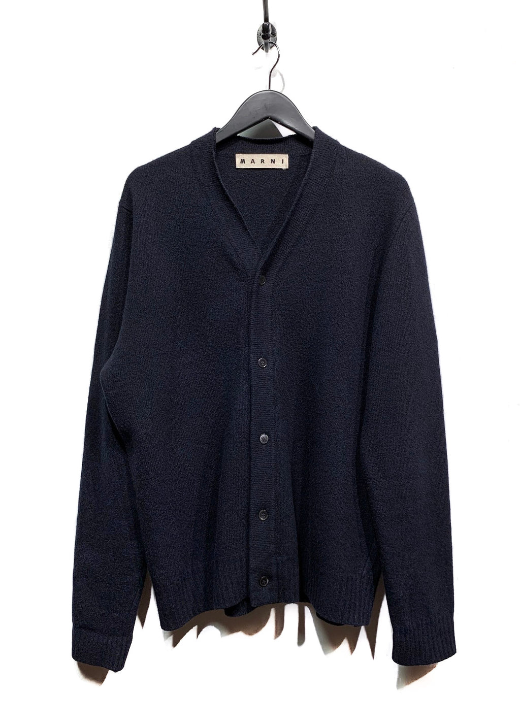 Marni Midnight Blue Wool Cashmere Blend Cardigan