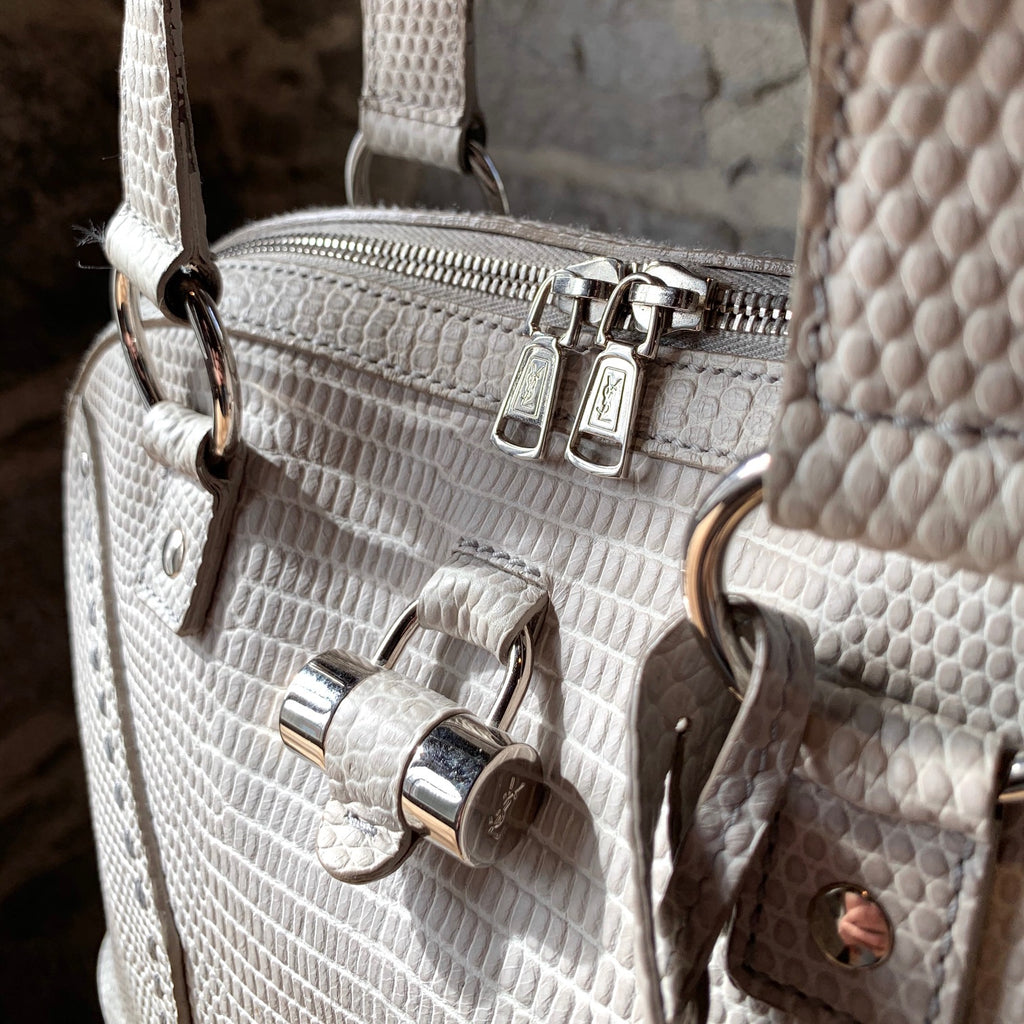 Yves Saint Laurent Ivory Snake Embossed Muse Handbag