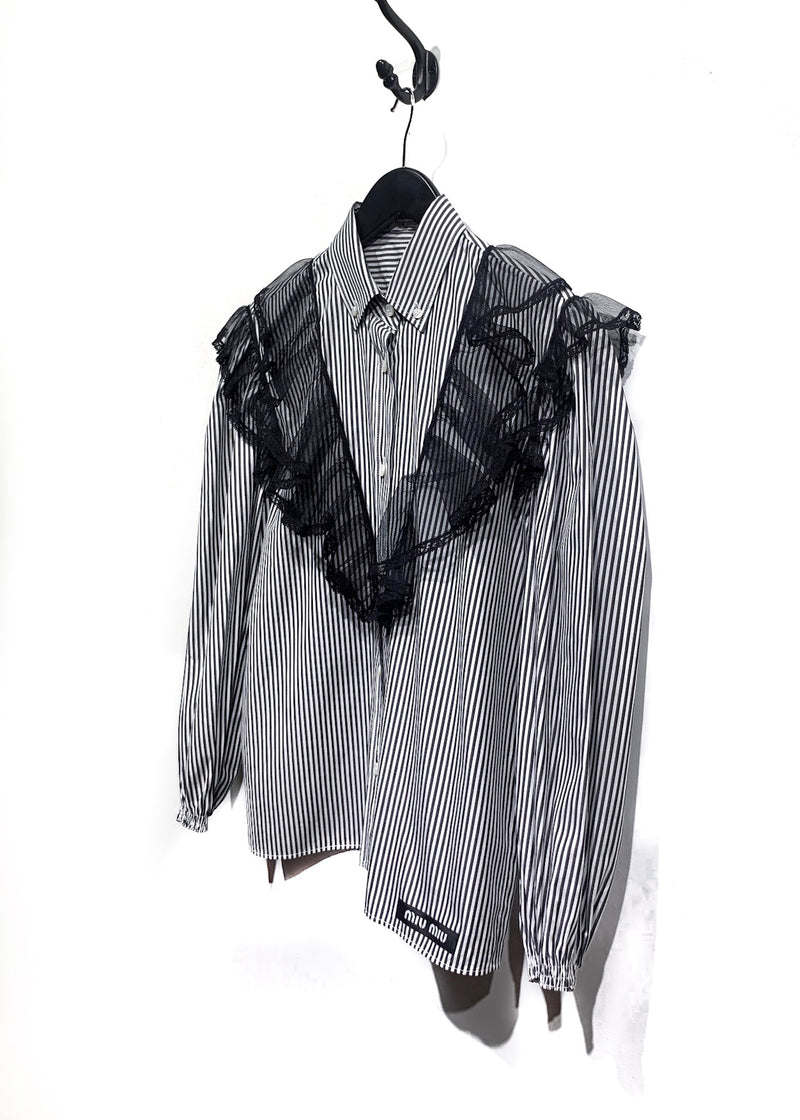 Miu Miu Black & White Striped Western Shirt with Lace Details