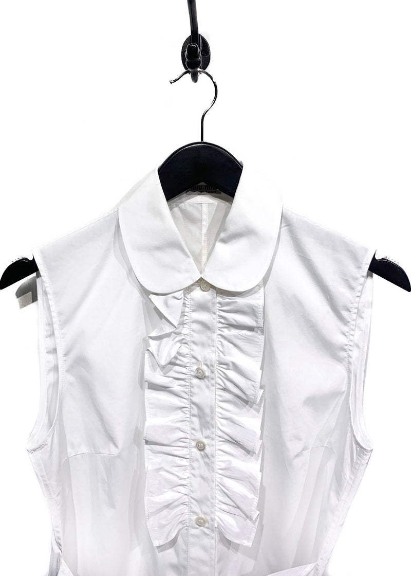 Miu Miu White Sleeveless Ruffle Details Blouse