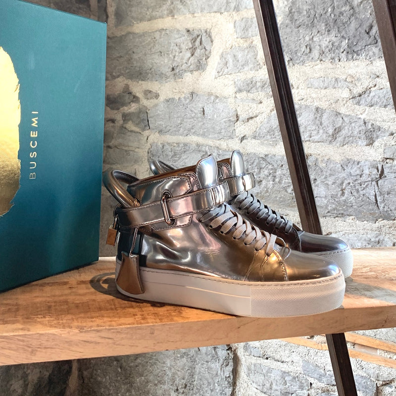 Buscemi Platinum Silver Metallic 100MM Push High-top Sneakers