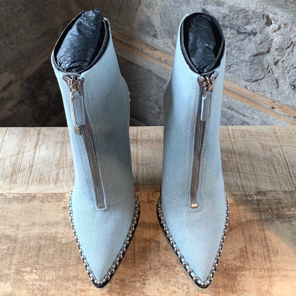 Alexander Wang Light Blue Denim Eri Studded Ankle Booties