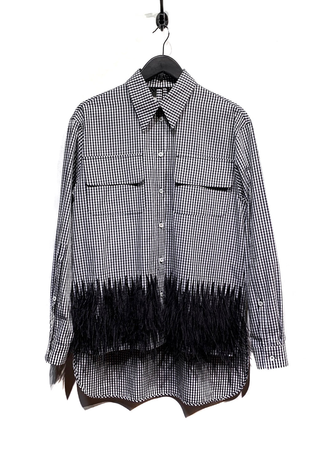 No.21 Black & White Gingham Blouse with Ostrich Feathers Detailing